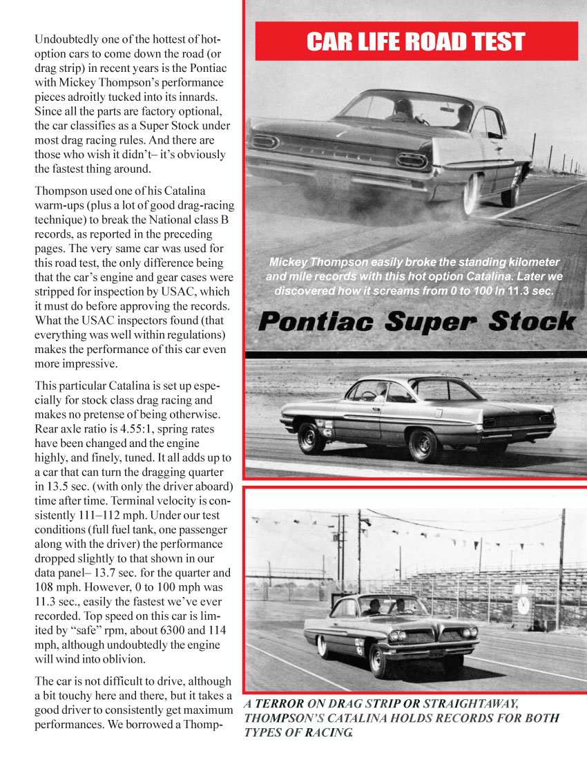 In this October 1961 Car Life magazine test report, we find some rather  amazing facts and figures. Sometimes we have to stop and remember that long  before ...