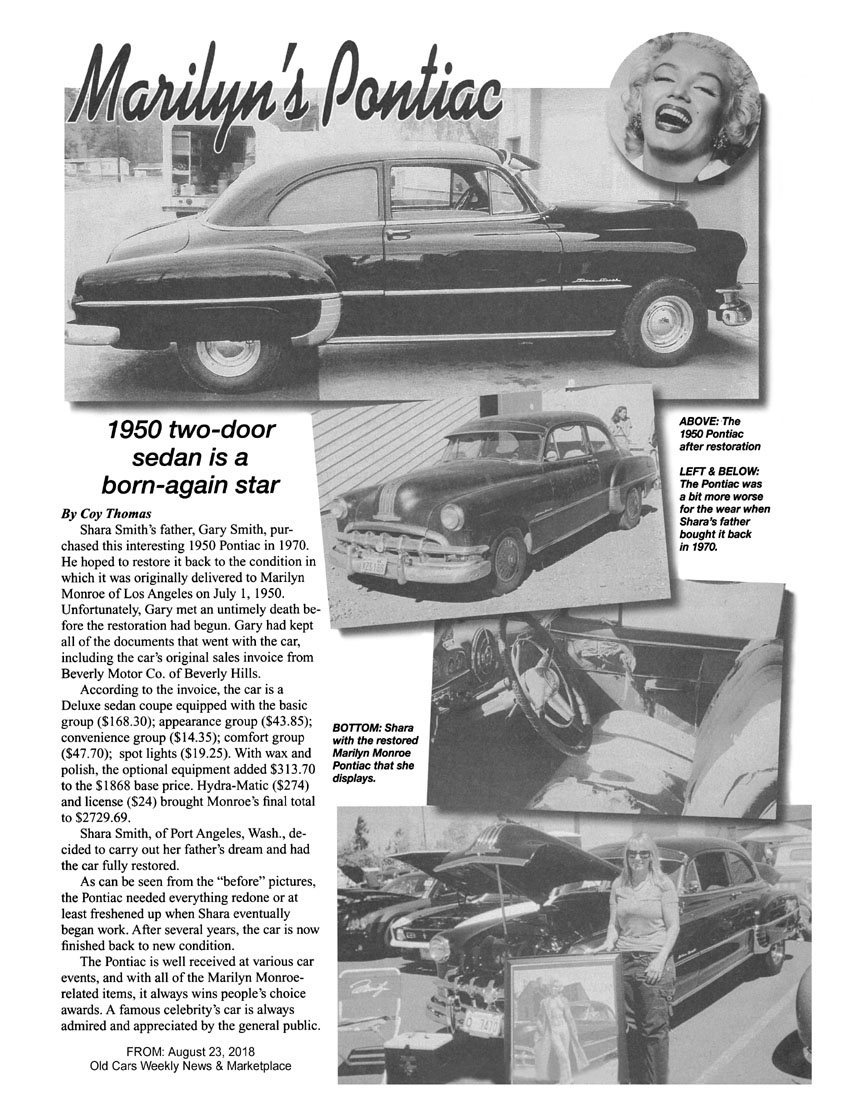 Magazine Contents 1950 Pontiac Star Chief A Long Time Ago We Came Across The Cheese Cake Shot Of Young Marilyn In Swimming Suit Posing With Her New Sedan